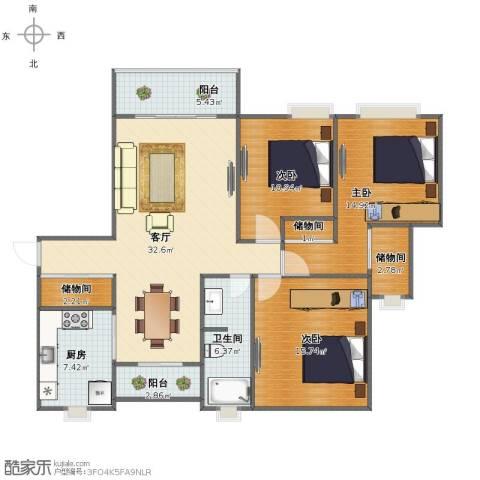 环球翡翠湾花园3室1厅1卫1厨114.00㎡户型图