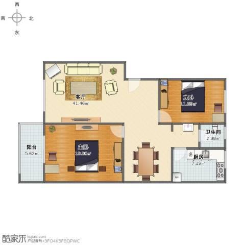 高新佳园2室1厅1卫1厨96.00㎡户型图