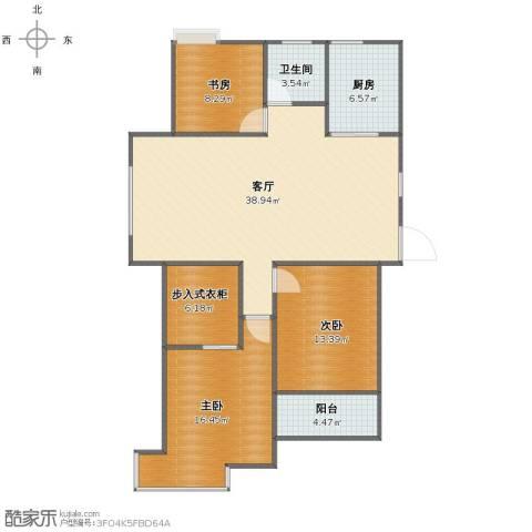 飞龙新苑3室1厅1卫1厨108.00㎡户型图