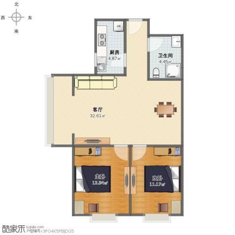 启新18892室1厅1卫1厨72.00㎡户型图