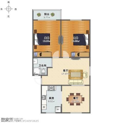 呼玛三村2室2厅1卫1厨84.00㎡户型图