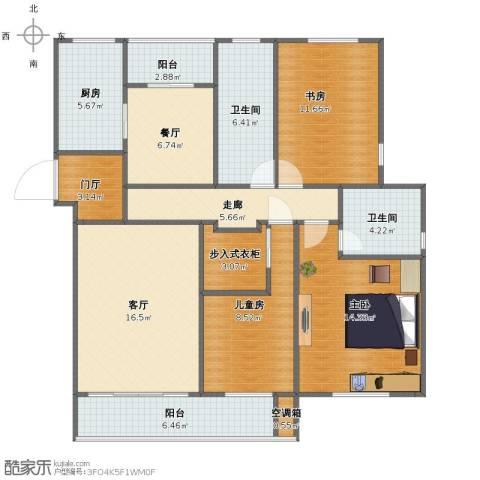 海棠花园3室2厅1卫2厨108.00㎡户型图