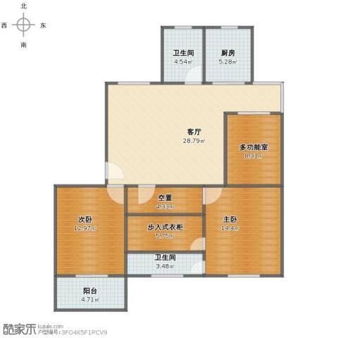 花园五村2室1厅1卫2厨103.00㎡户型图