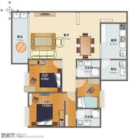 增城怡康花园3室1厅1卫2厨105.00㎡户型图