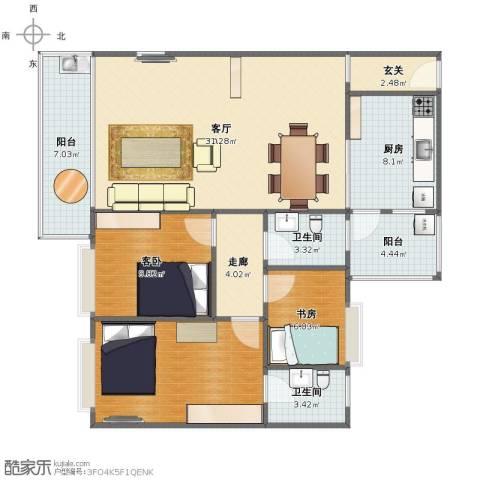 增城怡康花园2室1厅1卫2厨104.00㎡户型图