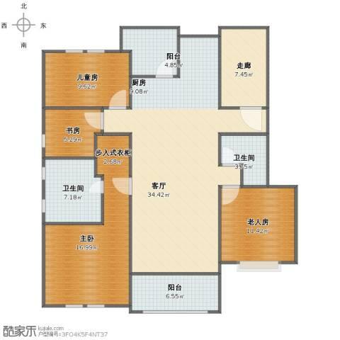 月亮湾3号4室1厅1卫2厨131.00㎡户型图