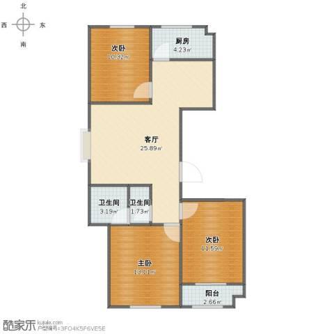 香格里拉・水岸绿城3室1厅1卫2厨81.00㎡户型图