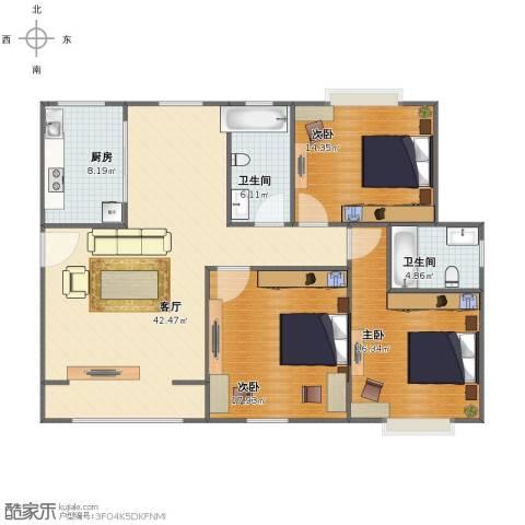 西城名邸3室1厅1卫2厨120.00㎡户型图