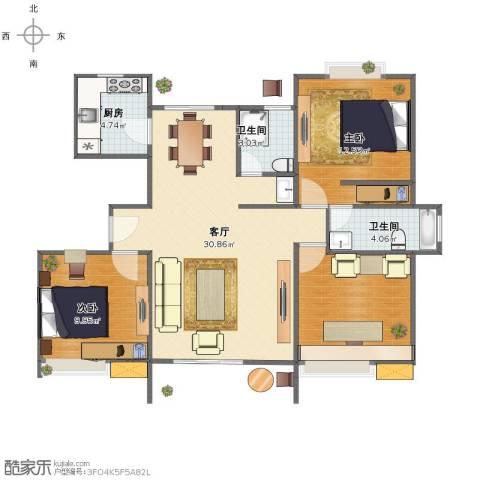阳光花苑2室1厅1卫2厨85.00㎡户型图