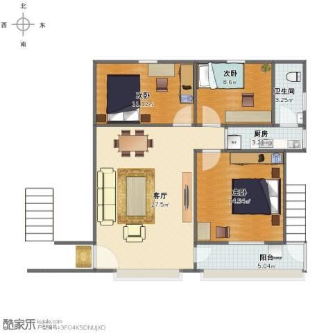 西秀园3室1厅1卫1厨81.00㎡户型图
