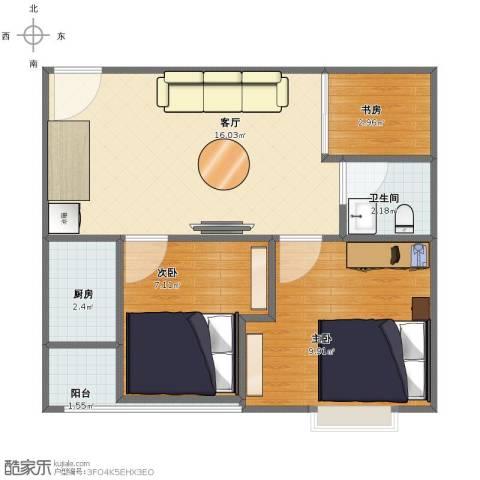大福苑3室1厅1卫1厨48.00㎡户型图