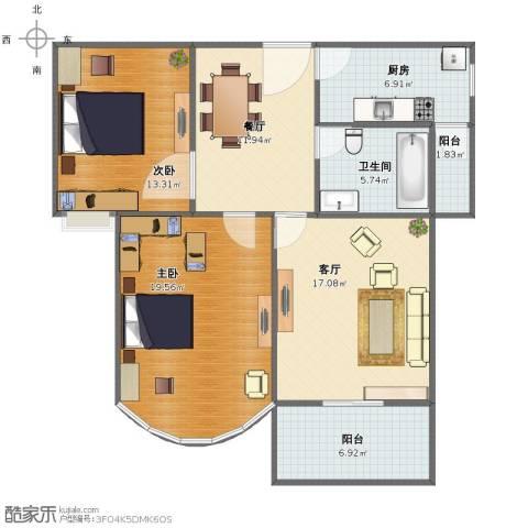幸福人家2室2厅1卫1厨92.00㎡户型图
