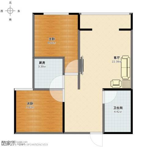 同美中央生活区2室1厅1卫1厨51.95㎡户型图
