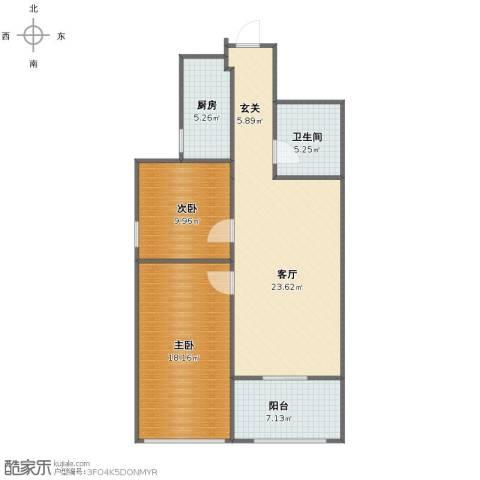 华夏第九园・兰亭2室1厅1卫1厨83.00㎡户型图