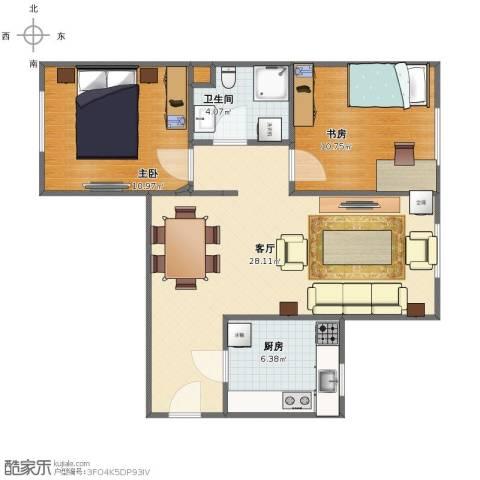京贸家园2室1厅1卫1厨67.00㎡户型图