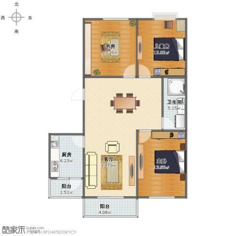 华富家园3室1厅1卫1厨100.00㎡户型图