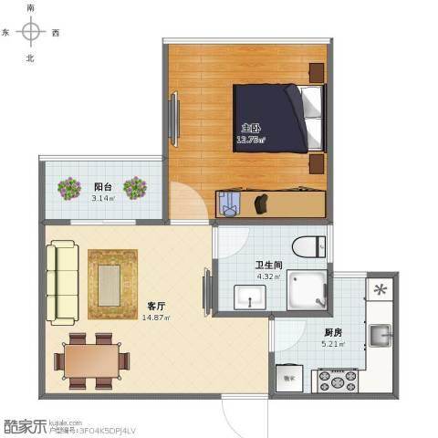 三林世博家园1室1厅1卫1厨46.00㎡户型图