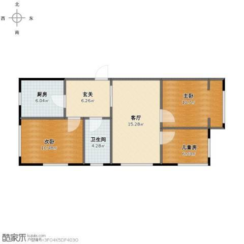 里仁街文化部回迁3室1厅1卫1厨66.00㎡户型图