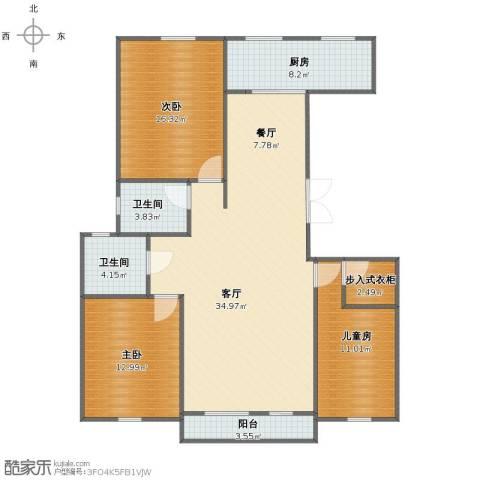 复地康桥3室2厅1卫2厨116.03㎡户型图