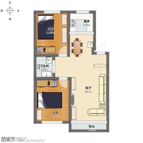 良筑名邸2室1厅1卫1厨75.00㎡户型图