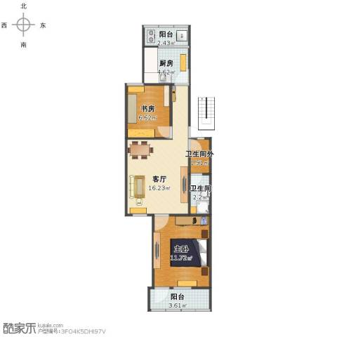 10AM新坐标2室1厅1卫1厨57.00㎡户型图