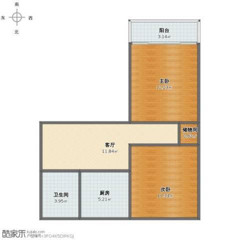 风雷新村2室1厅1卫1厨55.00㎡户型图