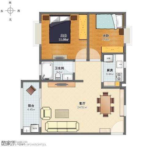 皇爵假日广场2室1厅1卫1厨62.00㎡户型图