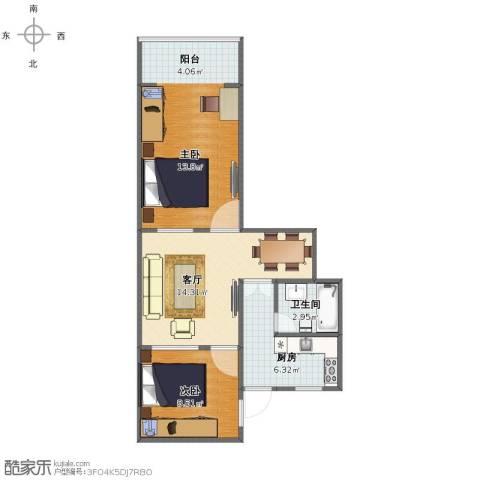 安龙大楼2室1厅1卫1厨56.00㎡户型图