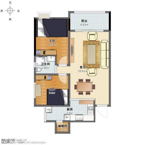 奥兰半岛2室1厅1卫1厨75.00㎡户型图