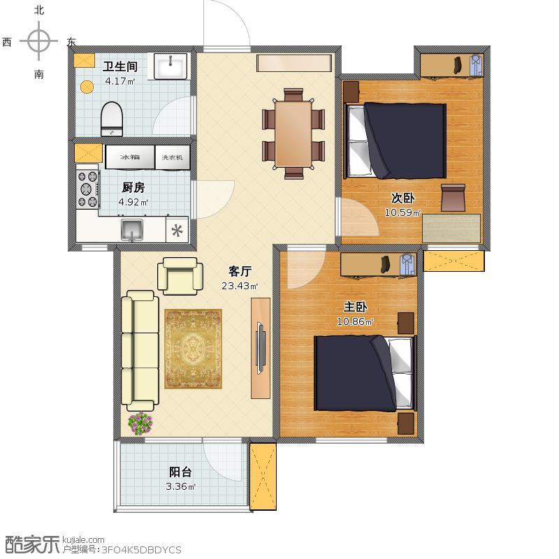新东风小区-3号楼-两室两厅-86平米