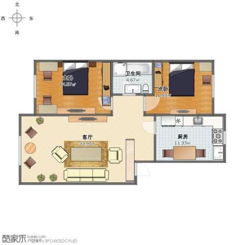 意大利风情小镇2室1厅1卫1厨84.00㎡户型图