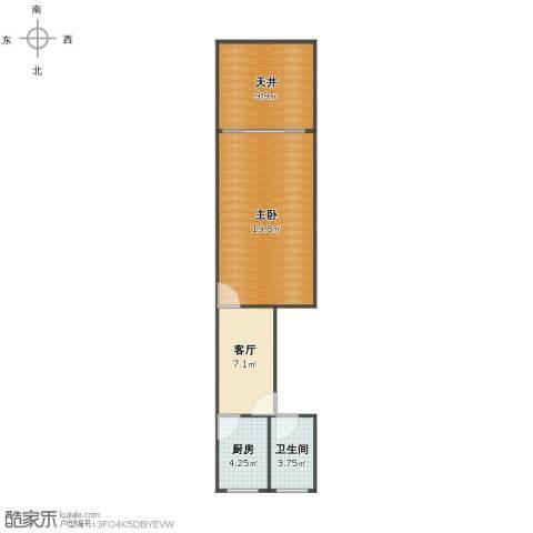 万荣小区1室1厅1卫1厨50.00㎡户型图