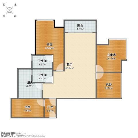 名流印象三期幸福季4室1厅1卫2厨104.56㎡户型图