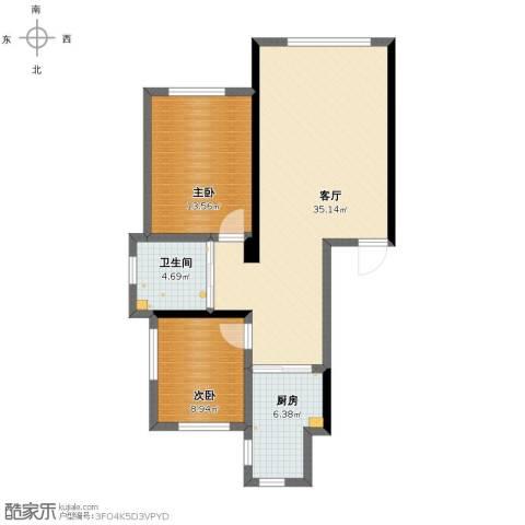 波尔的家2室1厅1卫1厨84.00㎡户型图