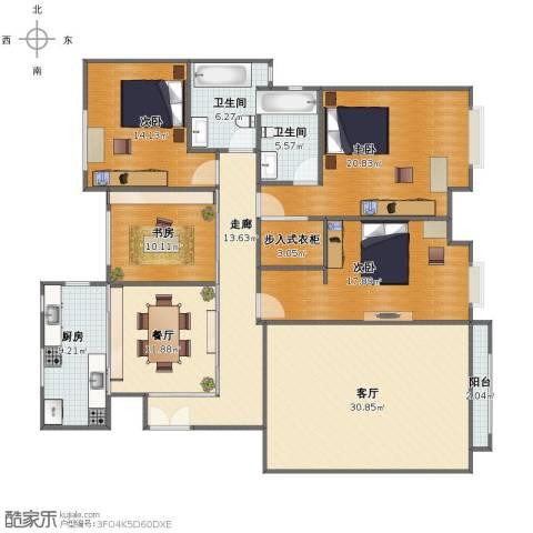 中海紫御东郡4室2厅1卫2厨160.00㎡户型图
