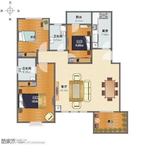 宝龙城市广场3室1厅1卫2厨121.00㎡户型图