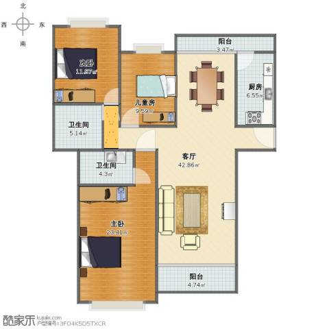 保利红珊瑚别墅3室1厅1卫2厨124.00㎡户型图