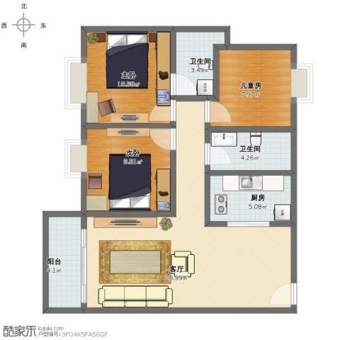 光大花园和榕风景3室1厅1卫2厨89.00㎡户型图