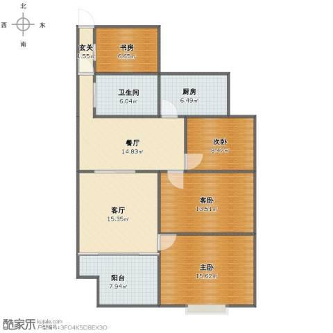 水澜山二期4室2厅1卫1厨107.00㎡户型图