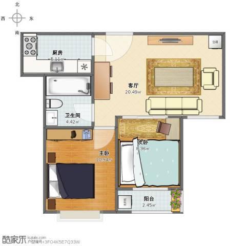 营创美域2室1厅1卫1厨58.00㎡户型图