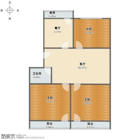 山东省畜牧局宿舍3室2厅1卫1厨121.00㎡户型图