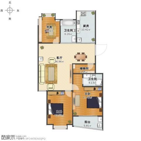 盛大花园3室1厅1卫2厨121.00㎡户型图
