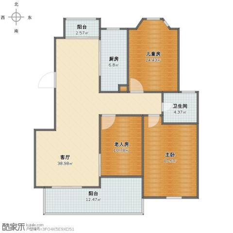 金王府3室1厅1卫1厨119.00㎡户型图