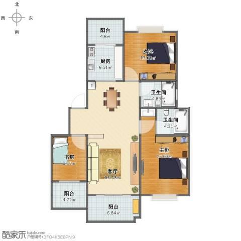 五里汉城3室1厅1卫2厨114.69㎡户型图