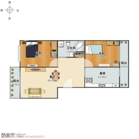 富水一方2室1厅1卫1厨204.00㎡户型图