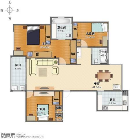 姚江公馆3室1厅1卫2厨130.00㎡户型图