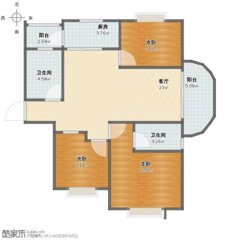 东亚.马赛公馆3室1厅1卫2厨77.00㎡户型图