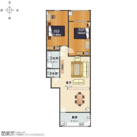 齐鲁世纪园2室1厅1卫2厨105.00㎡户型图