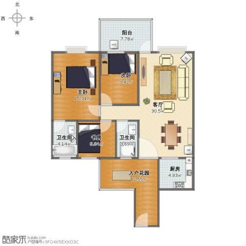 嘉誉蓝湾3室1厅1卫2厨105.00㎡户型图