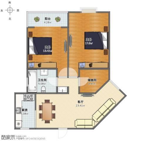 奎江公寓2室1厅1卫1厨81.00㎡户型图